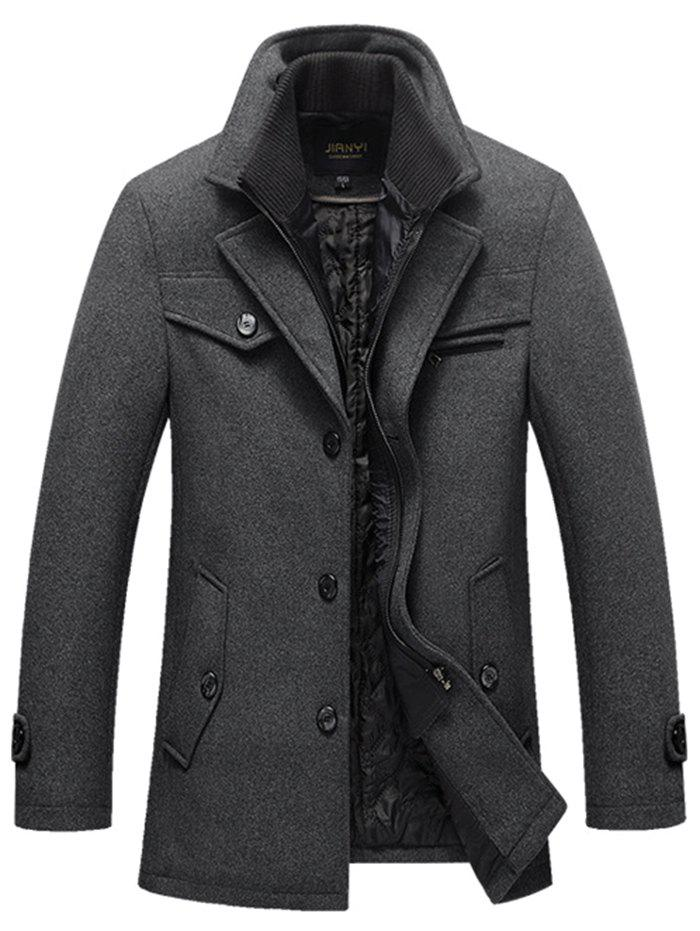 Sale Men's Autumn and Winter Business Casual  Windbreaker Plus Cotton Thick Double Collar Long Wool Coat