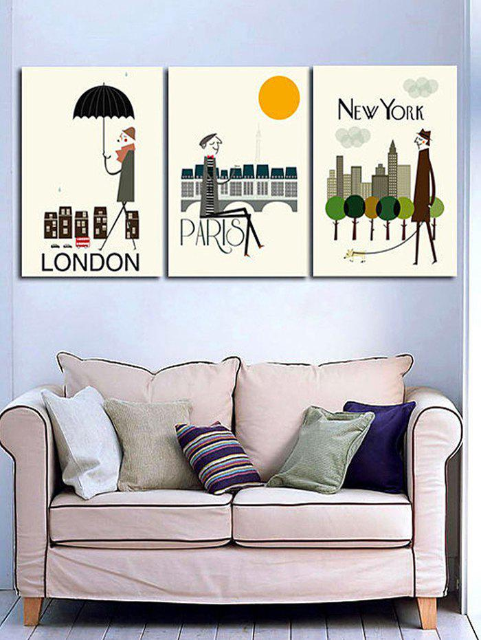 Affordable City Life Print Unframed Split Canvas Paintings