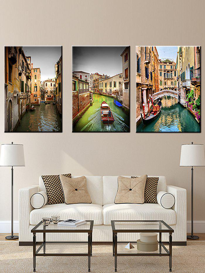 Fashion City River Print Unframed Split Canvas Paintings