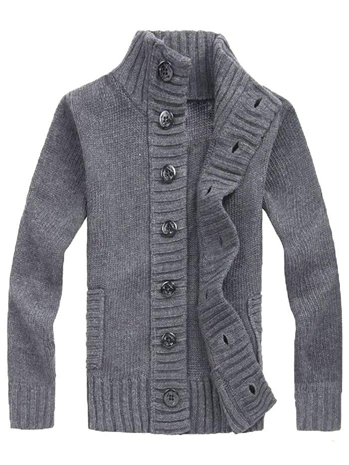 Online Men's Winter Thickening Casual Stand Collar Cardigan Youth Loose Sweater