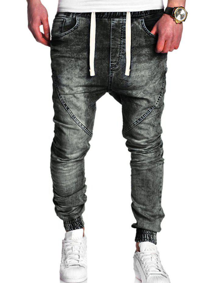 Buy Men's Classic Washed Elastic Casual Loose Harem Jeans Trousers
