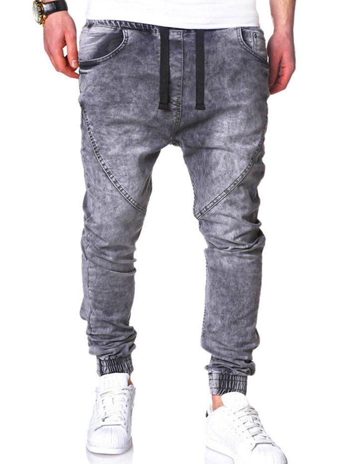 Fashion Men's Classic Washed Elastic Casual Loose Harem Jeans Trousers