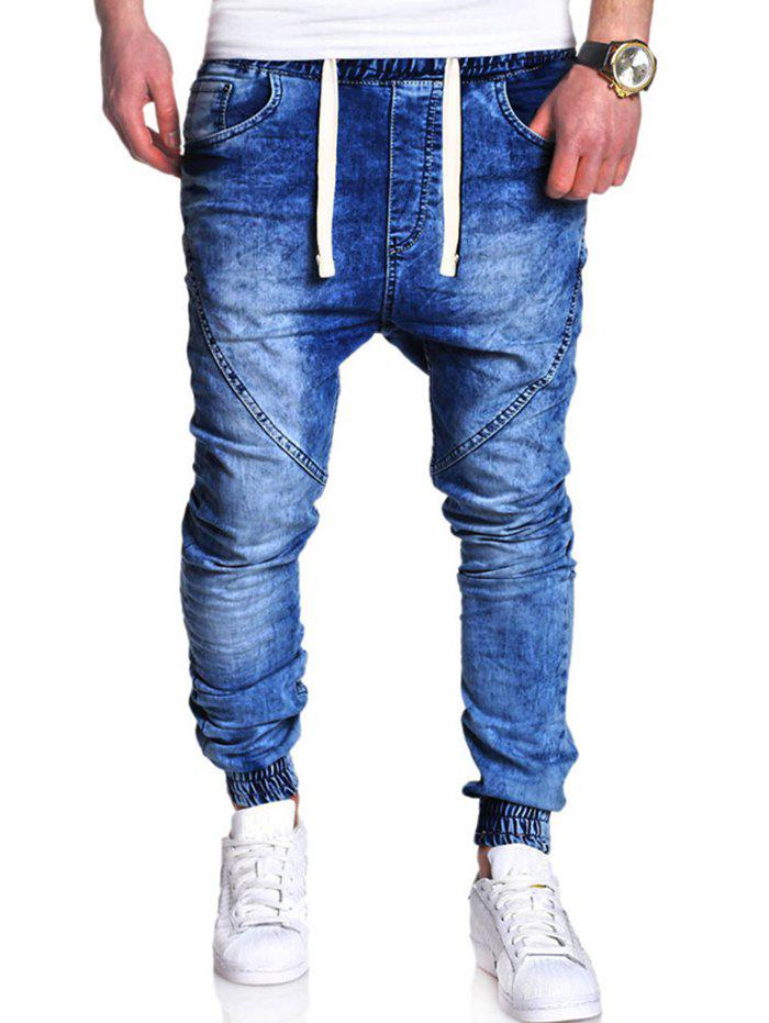 Trendy Men's Classic Washed Elastic Casual Loose Harem Jeans Trousers