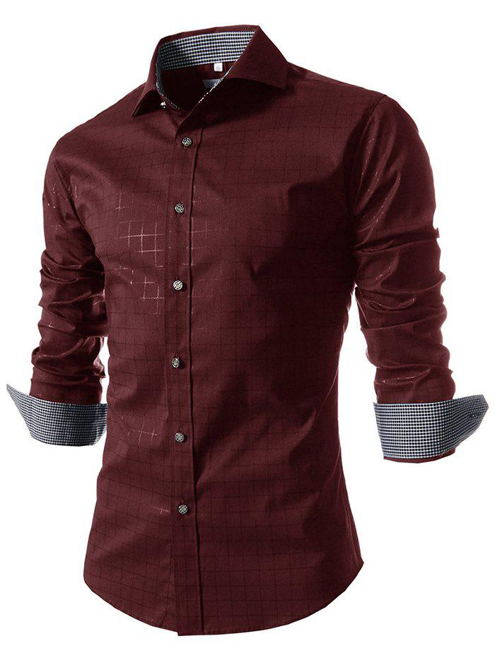 Fancy Fashion Printed Plaid Long Sleeve Men Shirt