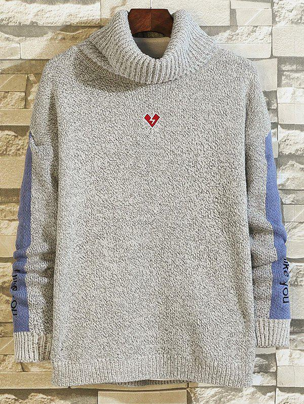 Cheap High-neck Loose Embroidery Color Matching Sweater