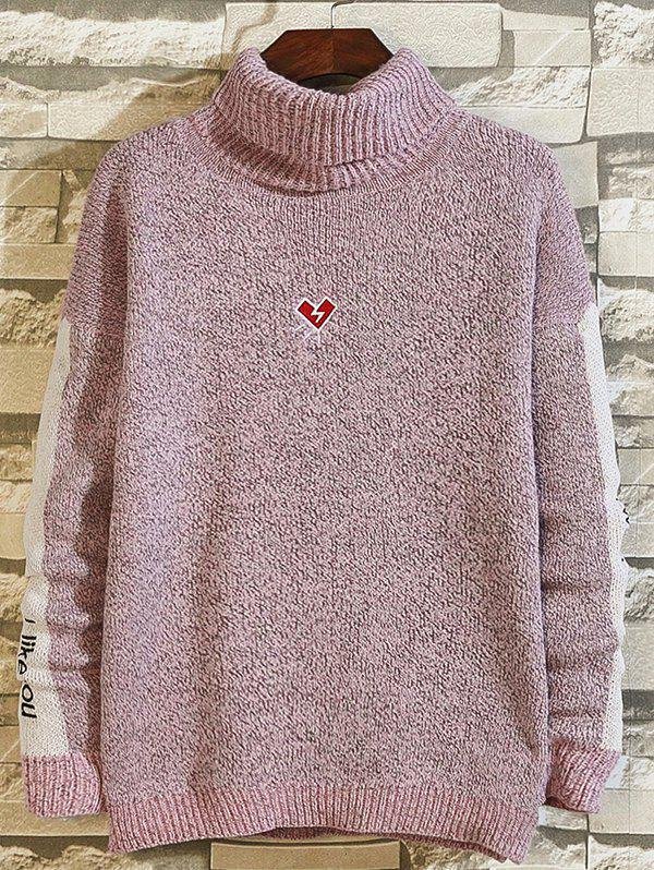 Store High-neck Loose Embroidery Color Matching Sweater