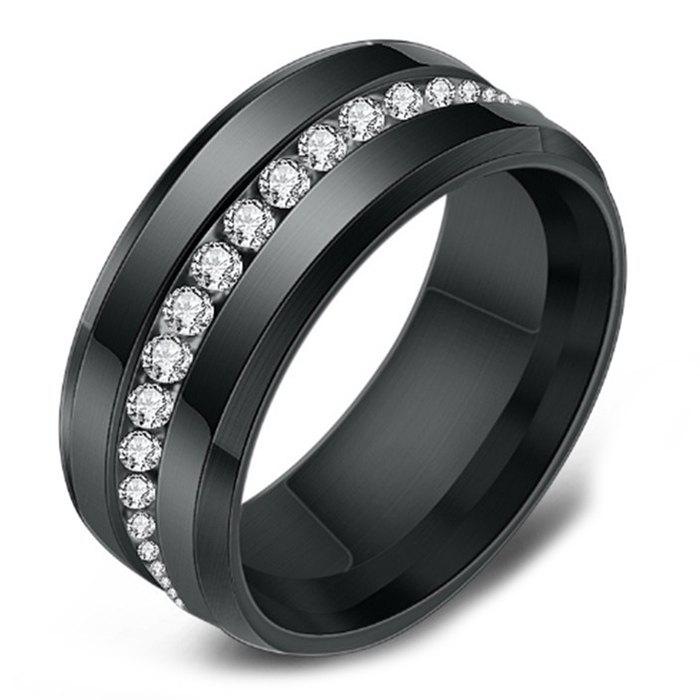Best Vacuum Plated Single Row Diamond Stainless Steel Men's Ring