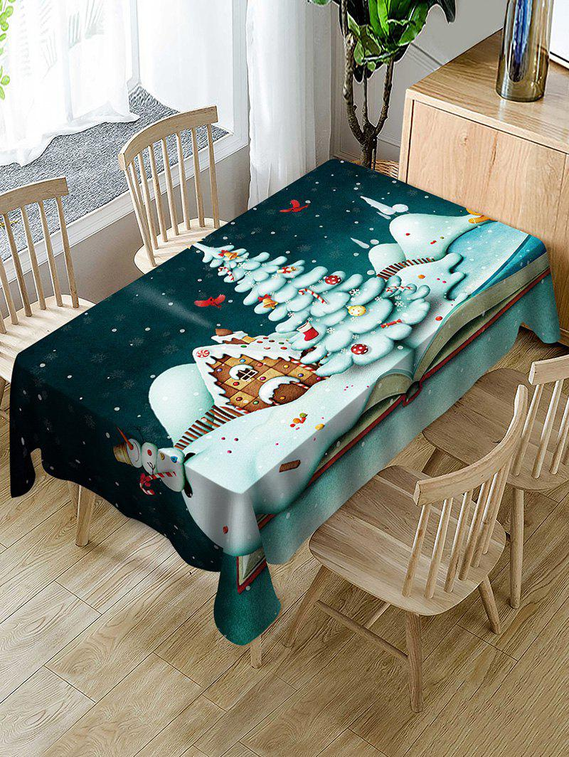 Unique Christmas Tree Snowman Candy Fabric Waterproof Table Cloth