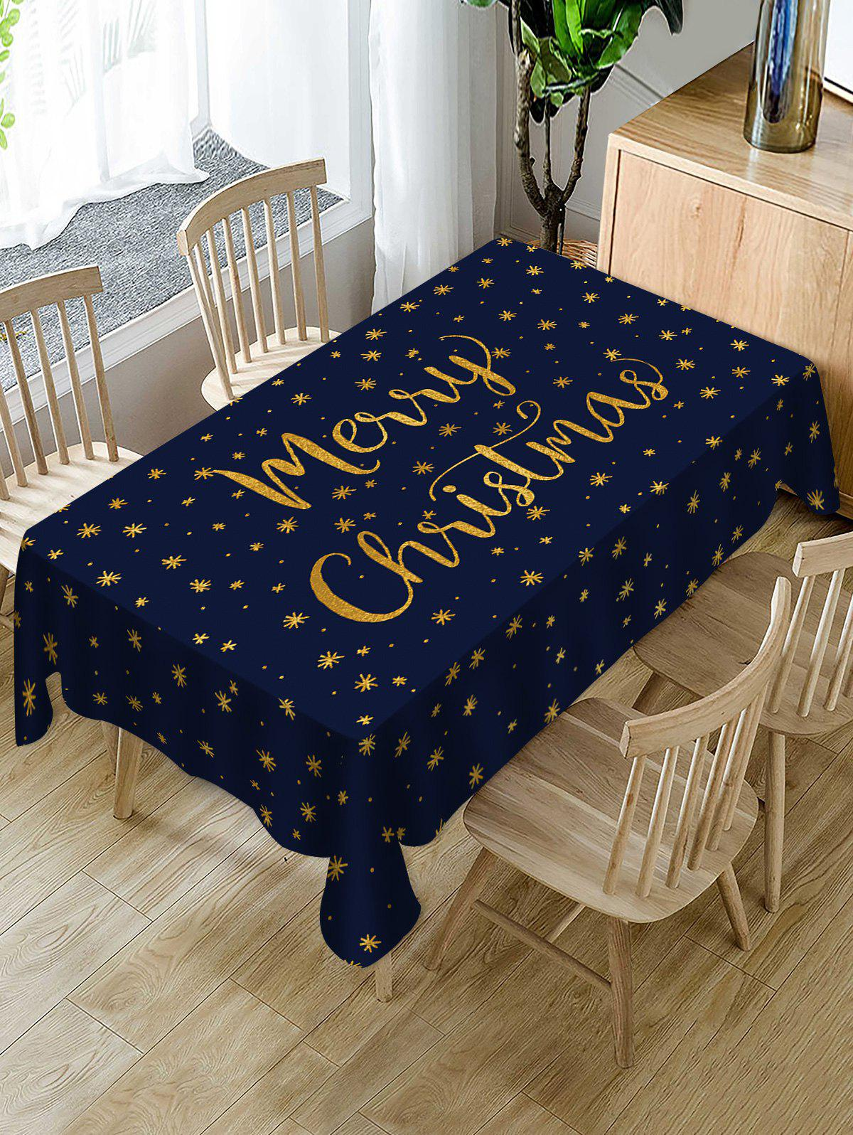 Fashion Merry Christmas Snowflake Fabric Waterproof Table Cloth