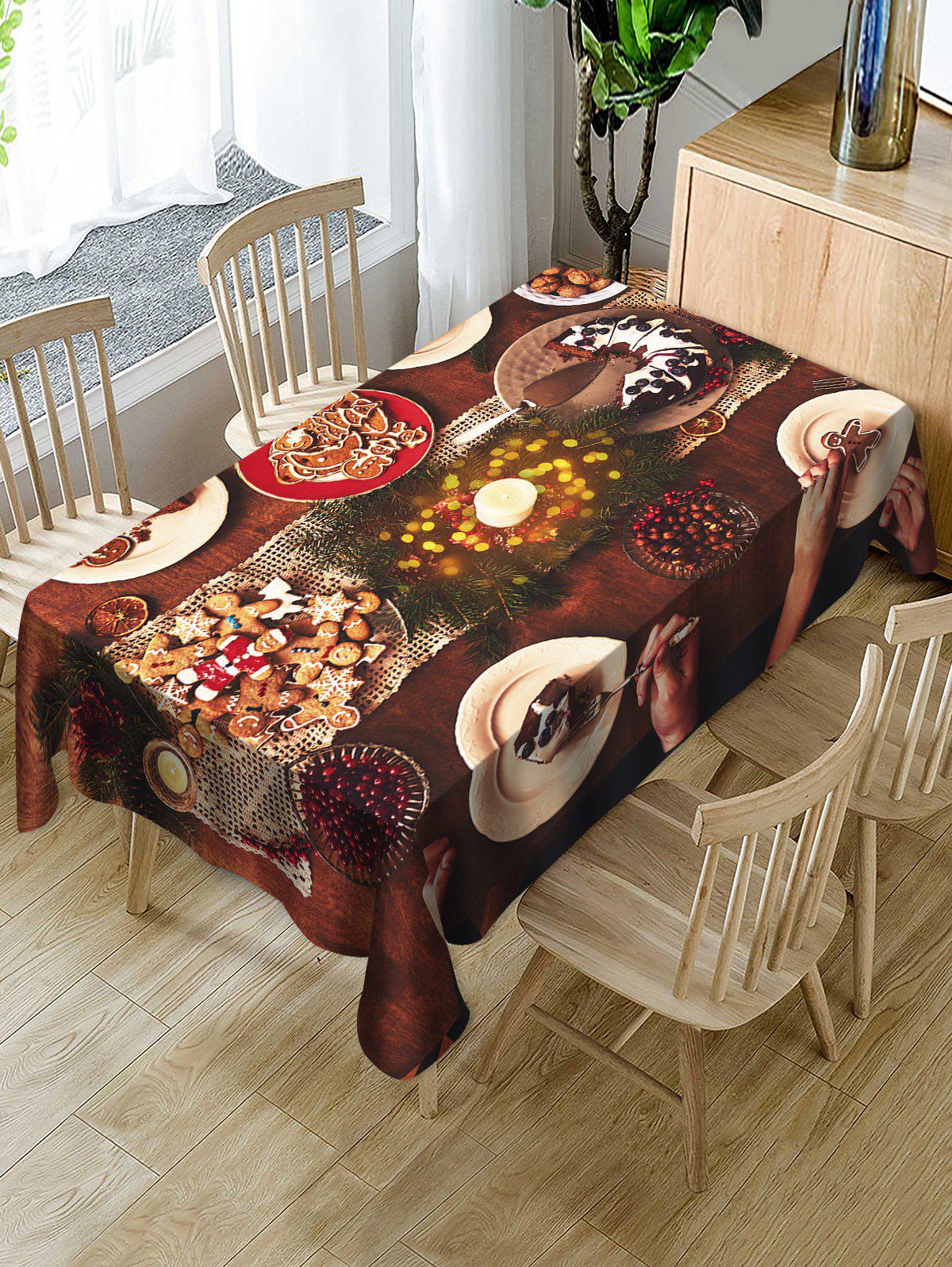 Unique Christmas Cookie Fabric Waterproof Table Cloth