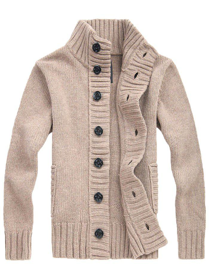 Shops Men's Winter Thickening Casual Stand Collar Cardigan Youth Loose Sweater