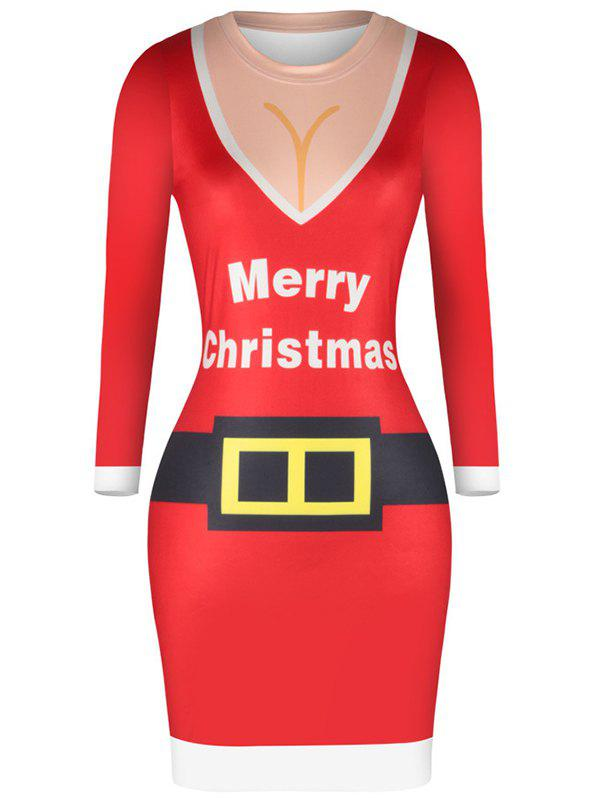 Discount Women 3D Christmas Sexy Tight Skinny Hip Dress