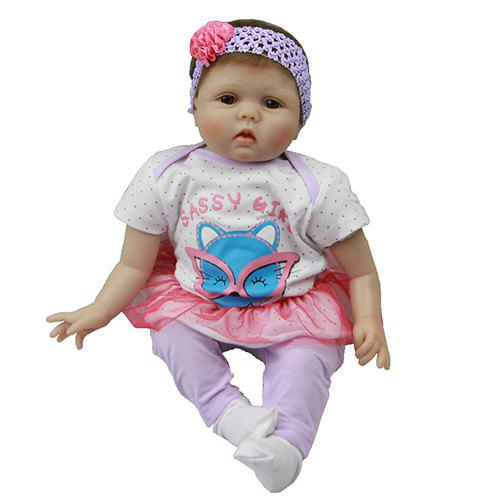 Fancy 22~23 Inch Simulation Baby Rebirth Doll Purple Fox Hat Cotton Clothes