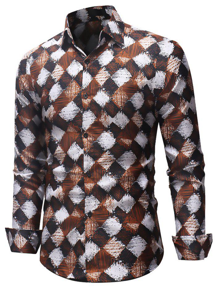 Cheap Casual Printed Long-sleeved Shirt European and American Style Slim Shirt