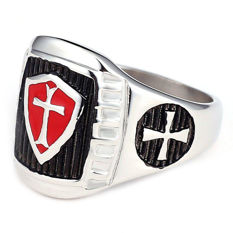 Chic Stainless Steel Knight Red and Black AG Model Male Ring