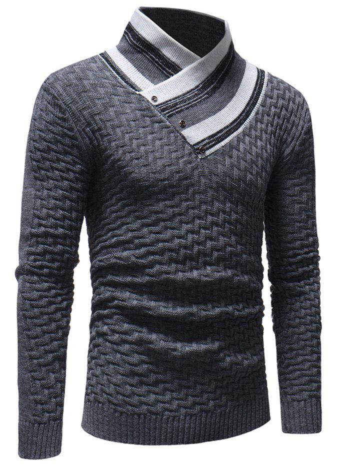 Outfit Men's Casual Slim Turtleneck Sweater Fashion Lingge Trendy Knit Jacket