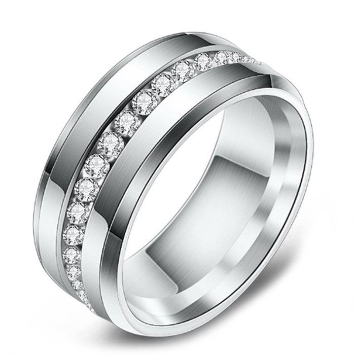 Discount Vacuum Plated Single Row Diamond Stainless Steel Men's Ring