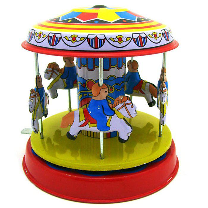 Outfits Classic Vintage Clockwork Wind Up Merry-Go-Round Children Tin Toy