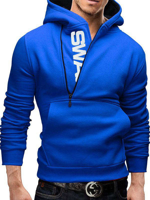 Unique Sleeve Side Zipper Color Blocking Hooded Men's Brushed Sweater