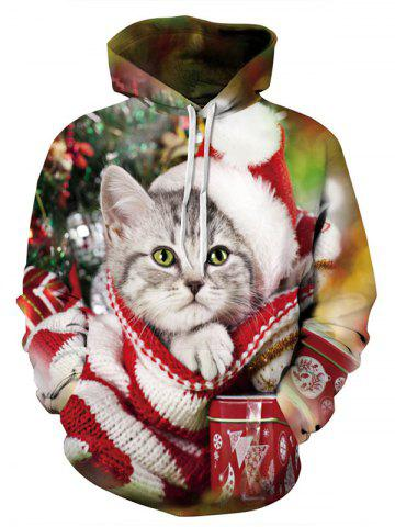 Christmas Series Cat 3D Digital Printing Hoodie Pullover Lovers Sweater