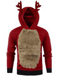 Autumn Winter Men's Jackets Christmas Hooded Antlers Fur Color Matching Sweater -