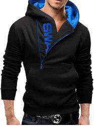 Sleeve Side Zipper Color Blocking Hooded Men's Brushed Sweater -