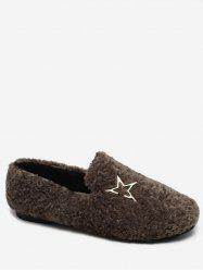 Metal Star Faux Fur Loafer Flats -