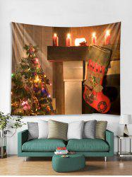 Christmas Tree Candles Print Tapestry Wall Hanging Decoration -