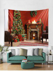 Christmas Tree Fireplace Print Tapestry Wall Hanging Art Decor -