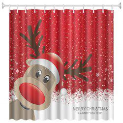Christmas Print Pattern Waterproof Breathable Mildew Bathroom Partition Shower Curtain -