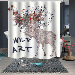 Cartoon Elk Series Shower Curtain Printing Polyester Waterproof -