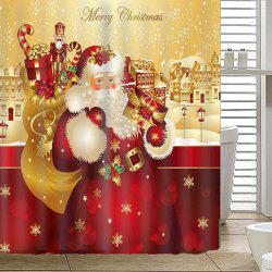 180 x 180cm Happy Christmas Theme Shower Curtain Santa Claus Snowman Gift Decorative Lantern Tree -