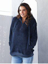 Winter Women's Solid Color Pocket Plush Hooded Hoodie -