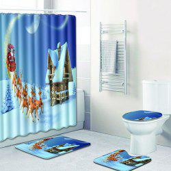 Christmas Bathroom Shower Curtain Floor Mat Toilet Seat Cushion Toilet Mat -