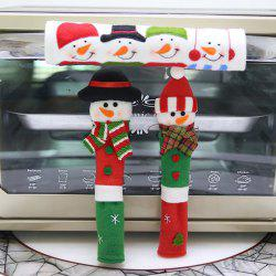 Christmas Home Decor Microwave Door Handle Cover Anti-static Protective Case 3pcs -