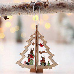 3D Stereo Christmas Tree Pendant Wooden Openwork Christmas Tree Bells Ornaments -