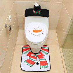 Santa Claus Toilet Seat + Foot Pad + Water Tank Cover Paper Towel Cover -