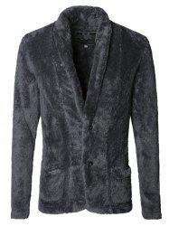 Men Fashionable Thicken Plush Cardigan Suit Jacket -