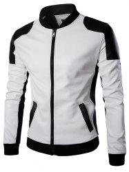 Men's Stand Collar Leather Trend Black Jacket -