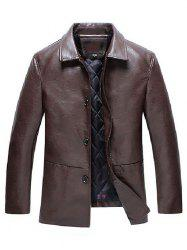 Collar Quilted Thick Middle-aged Leather Jacket -