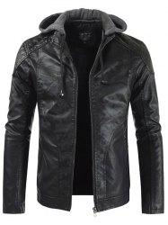 Fashion Hooded Casual Faux Leather Stitching PU Jacket -