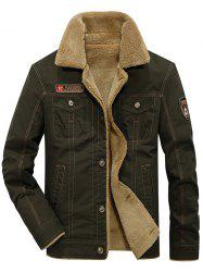 Men's Casual Washed Cotton Military Plus Velvet Thick Jacket -