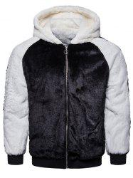 Casual Men's Black And White Contrast Color Fluffy Warm Hoodie -