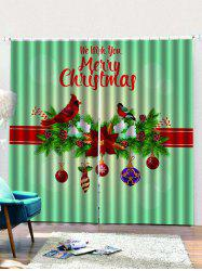 2PCS Merry Christmas Floral Bird Window Curtains -