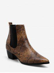 Snake Print Ankle Chelsea Boots -