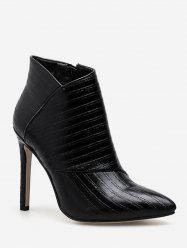 Stripe Textured High Heel Ankle Boots -