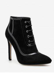 Lace Up Heeled Suede Ankle Boots -
