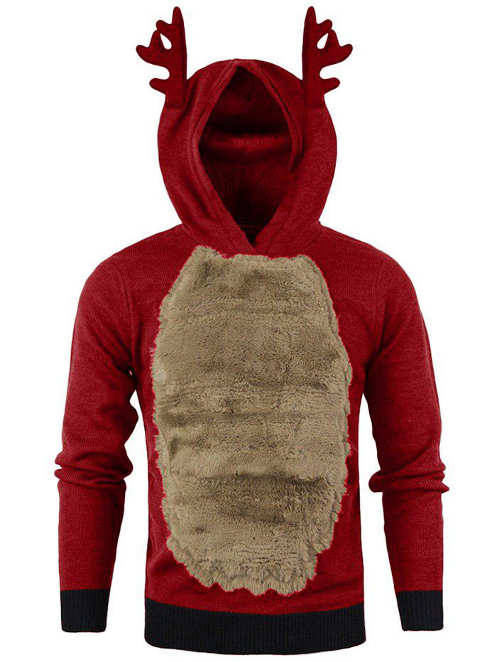 Buy Autumn Winter Men's Jackets Christmas Hooded Antlers Fur Color Matching Sweater