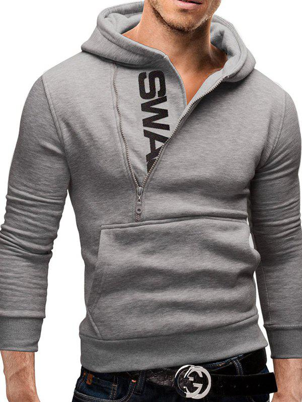Outfit Sleeve Side Zipper Color Blocking Hooded Men's Brushed Sweater