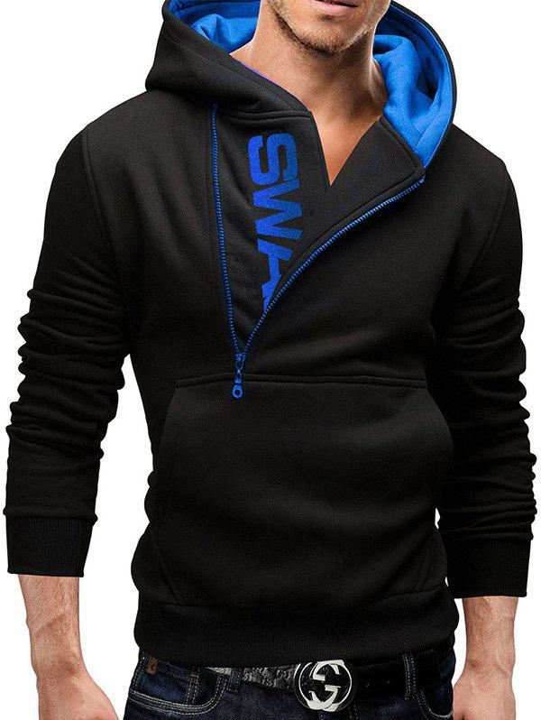 New Sleeve Side Zipper Color Blocking Hooded Men's Brushed Sweater